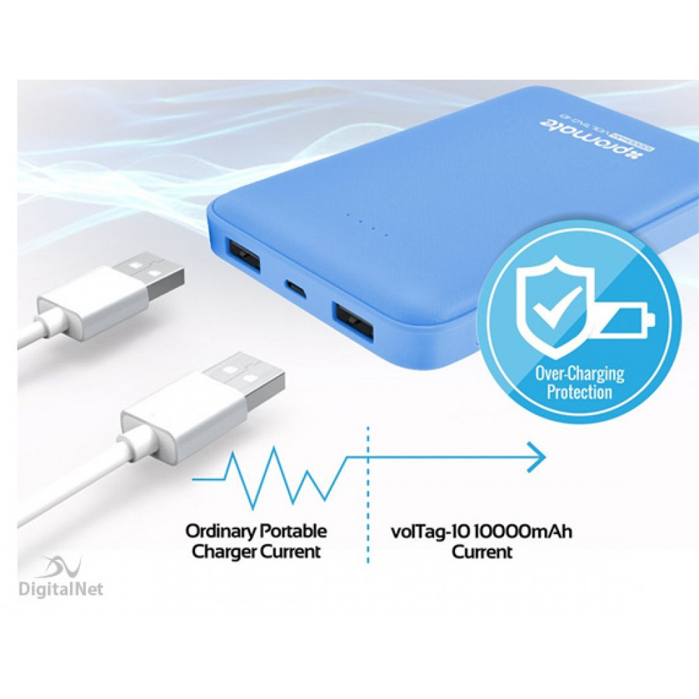 PROMATE POWER BANK PORTABLE CHARGER VOLTAG-10 10.000MAH BLUE