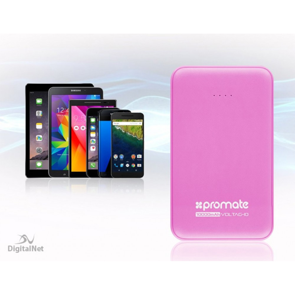PROMATE POWER BANK PORTABLE CHARGER VOLTAG-10 10.000MAH PINK