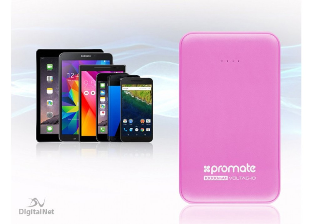 PROMATE POWER BANK PORTABLE CHARGER VOLTAG-10 10000 MAH PINK