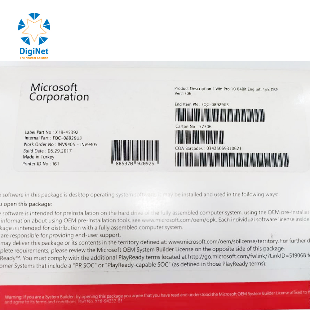 MICROSOFT WINDOWS 10 PRO 64 BIT X18-45392
