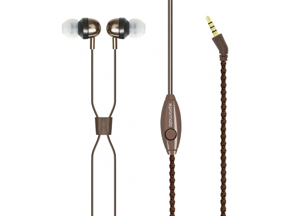 PROMATE STEREO WIRED EARPHONES RETRO BROWN