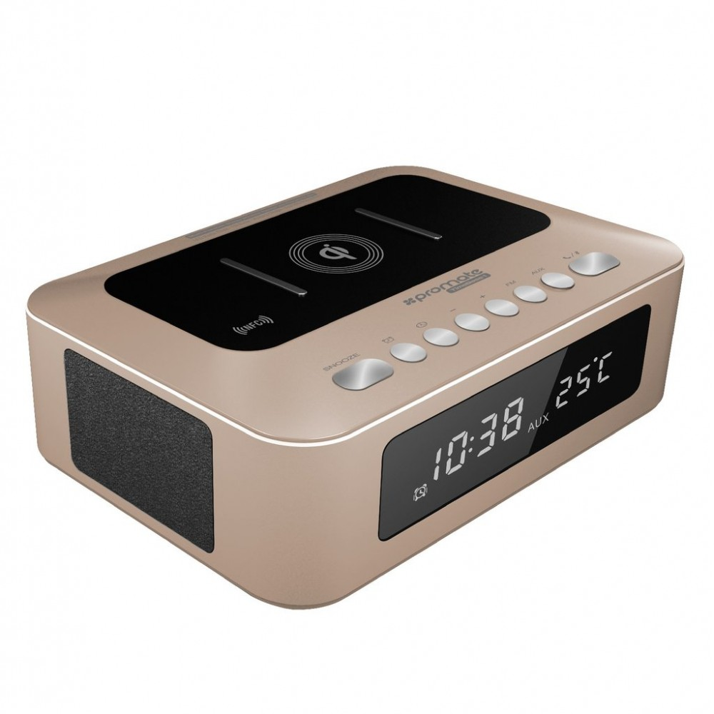 PROMATE BLUETOOTH SPEAKER TIMEBASE -1 MULTI FUNCTION STEREO WITH CHARGING STATION Gold