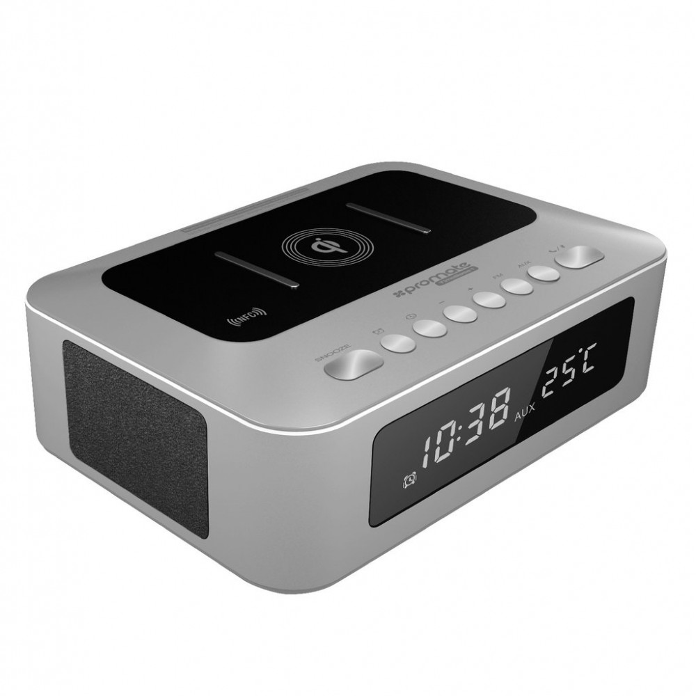 PROMATE BLUETOOTH SPEAKER TIMEBASE -1 MULTI FUNCTION STEREO WITH CHARGING STATION SILVER
