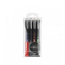 ستابيلو طقم 4  أقلام BL@CK+ROLLERBALL PEN متوسط