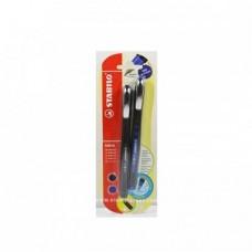 ستابيلو  0BL@CK ROLLERBALL قلمين أزرق /أسود 0.5مم