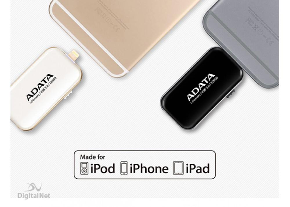 A-DATA FLASH OTG FOR iPHONE I-MEMORY UE710 64GB USB 3.0 WHITE