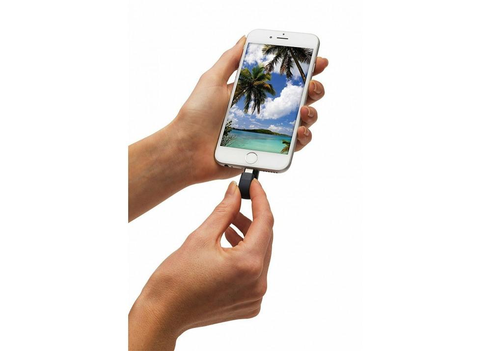 SANDISK FLASH MEMORY DRIVE IXPAND MINI LIGHTNING SDIX40N 256GB USB3.0 OTG FOR IPHONE OR IPAD BLACK & SILVER