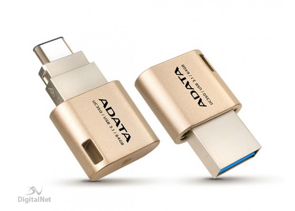 A-DATA FLASH MEMORY UC350 32GB TYPE C OTG USB 3.1 GOLD