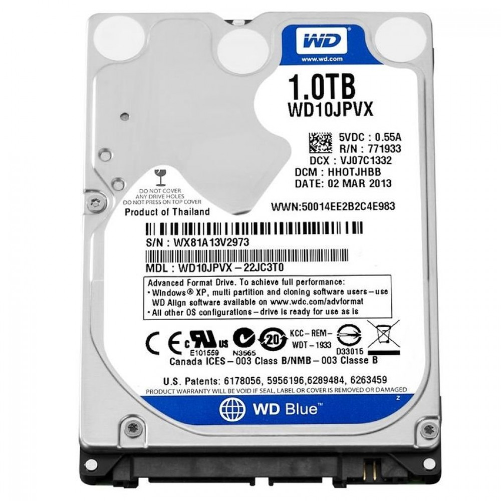 "WESTERN DIGITAL INTERNAL LAPTOP HARD DISK DRIVE 1TB 2.5"" BLUE"
