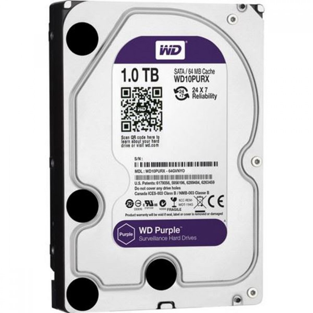 "WESTERN DIGITAL INTERNAL DESKTOP HARD DISK DRIVE 1TB 3.5"" PURPLE SURVEILLANCE"
