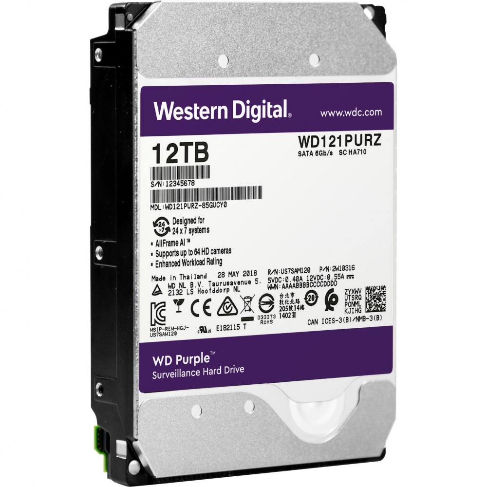 WESTERN DIGITAL  PURPLE SURVEILLANCE INTERNAL DESKTOP HARD DISK 12TB 3.5""