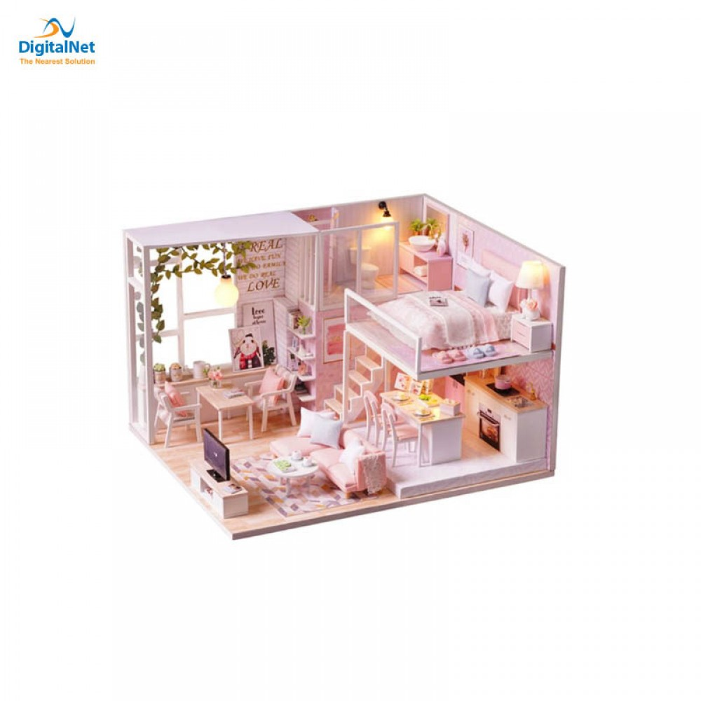 GENERIC 3D DIY WOODEN HOUSE TOY PINK